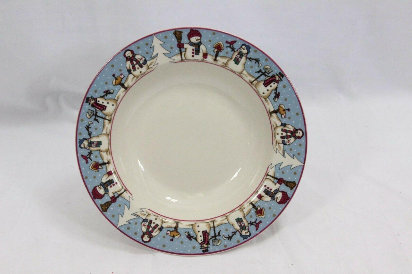 "Snowmen Serenade Rim Soup Bowls Cambridge 8.5"" Set of 12"