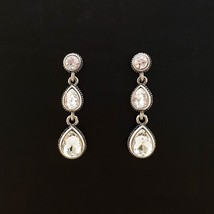 Tiered Round Water Drop Teardrop Shape Made With Swarovski Stone Dangle Earrings image 2