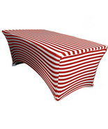 Table Cover Red/White Striped Stretch Spandex Fitted 6 Ft Rectangular - $52.99