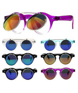 Hipster Round Horn Rim Color Mirror Flip Up Vintage Sunglasses - $12.95