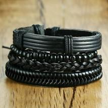 Vnox 4pcs/ Set Black Bracelets for Men Bangle Adjustable Length Bohemia Holiday - $6.05