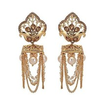 Indian Gold Plated Bollywood Bridal Traditional Fashion Jewelry Earrings - $26.24
