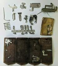 1889 Singer Sewing Machine Oak Puzzle Box w/Attachments Brown Velvet Treadle - $143.54