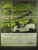 1966 Triumph TR4A Car Ad - Cornering fast in a Triumph TR4A you're glad - $14.99