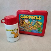 Vintage 1978 Garfield Lunchbox & Thermos - Red Plastic Lunch Box Excellent con. - $39.59