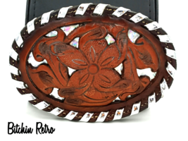 Tony Lama Tooled Leather Belt Buckle With Silver Tone Prismatic Details ... - $45.00