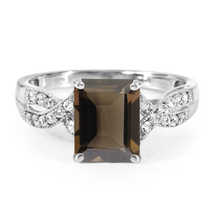 White Gold FN 925 Silver Rectangular Shape Smoky Topaz Infinity Engageme... - $81.99