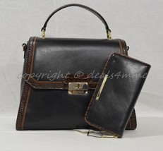 SET-Brahmin Brinley Satchel/Shoulder Bag + Suri Wallet. Black Tuscan Tri... - $449.00