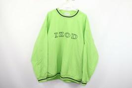 Vtg 80s Izod Mens Large Spell Out Nylon Pullover Windbreaker Jacket Lime... - $39.55