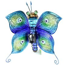 Painted Metal & Glass Solar Powered Light Garden Decoration Butterfly Decor image 7