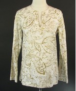 RALPH LAUREN Size S White Gold Metallic Linen Tunic Top - $17.99