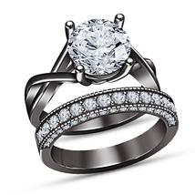 Sim Diamond 14k Black Gold Finish 925 Silver Antique Style Her Bridal Ri... - $94.99