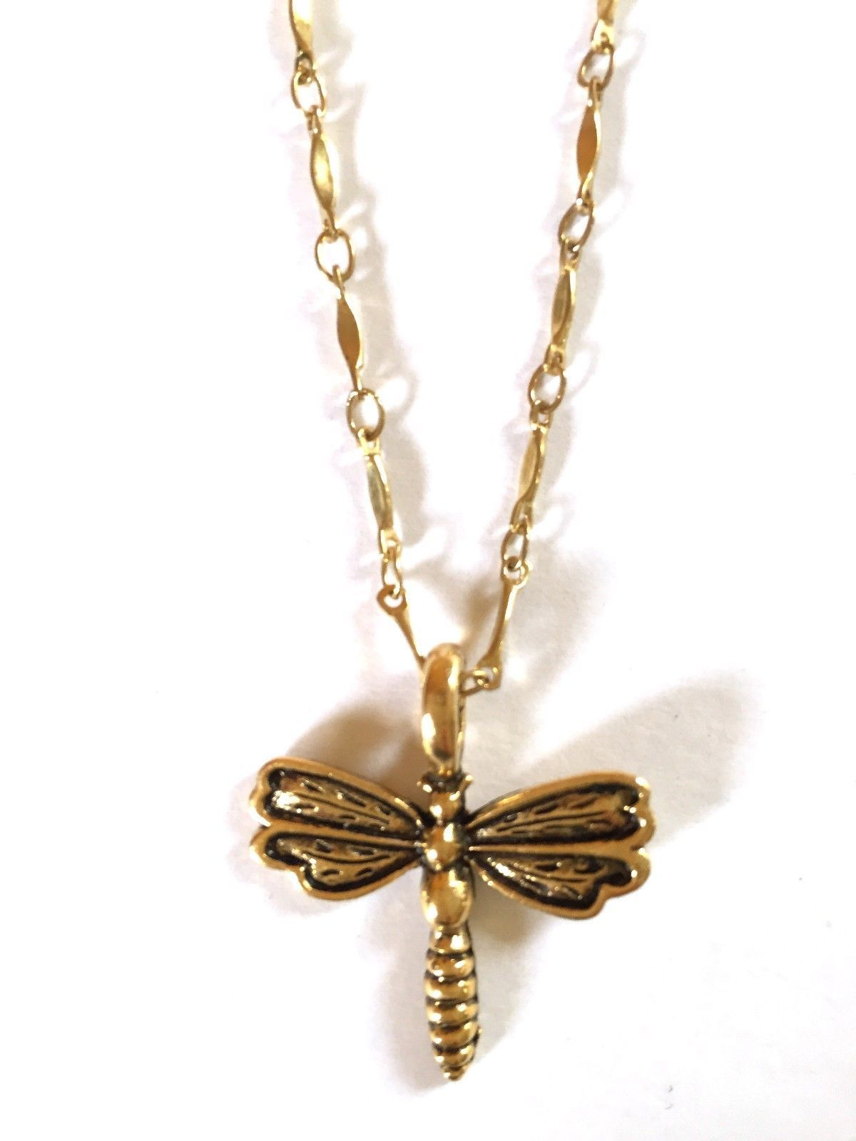DragonFly Charm Necklace 16 inches Goldtone