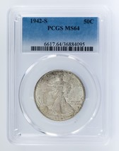 1942-S 50C Walking Liberty Half Dollar Graded by PCGS as MS64! Gorgeous ... - $148.49