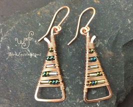 Handmade copper earrings: long triangles wire wrapped with blue bugle beads - $27.00