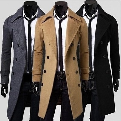 Fashion men leisure long coat wool overcoat