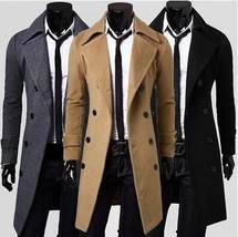Fashion men leisure long coat wool overcoat - $66.30
