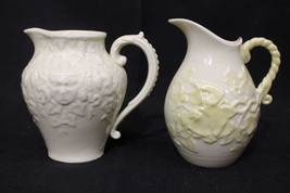 Pair of 2 Vintage Belleek Pitchers or Jugs: YELLOW IVY & MASK, 7th Mark,... - $59.99