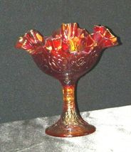Ruffle Red Compote Carnival Glass Candy Dish AA19-1460 Vintage image 5