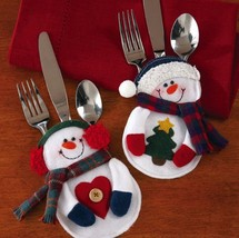 8Pcs Christmas Decorations snowman Silverware Holders ornaments for tabl... - $14.99