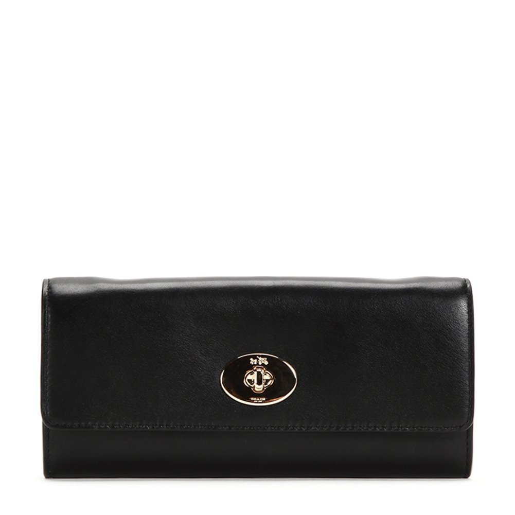 Coach Turn-lock Slim Envelope In Smooth Leather Wallet F53890 Black