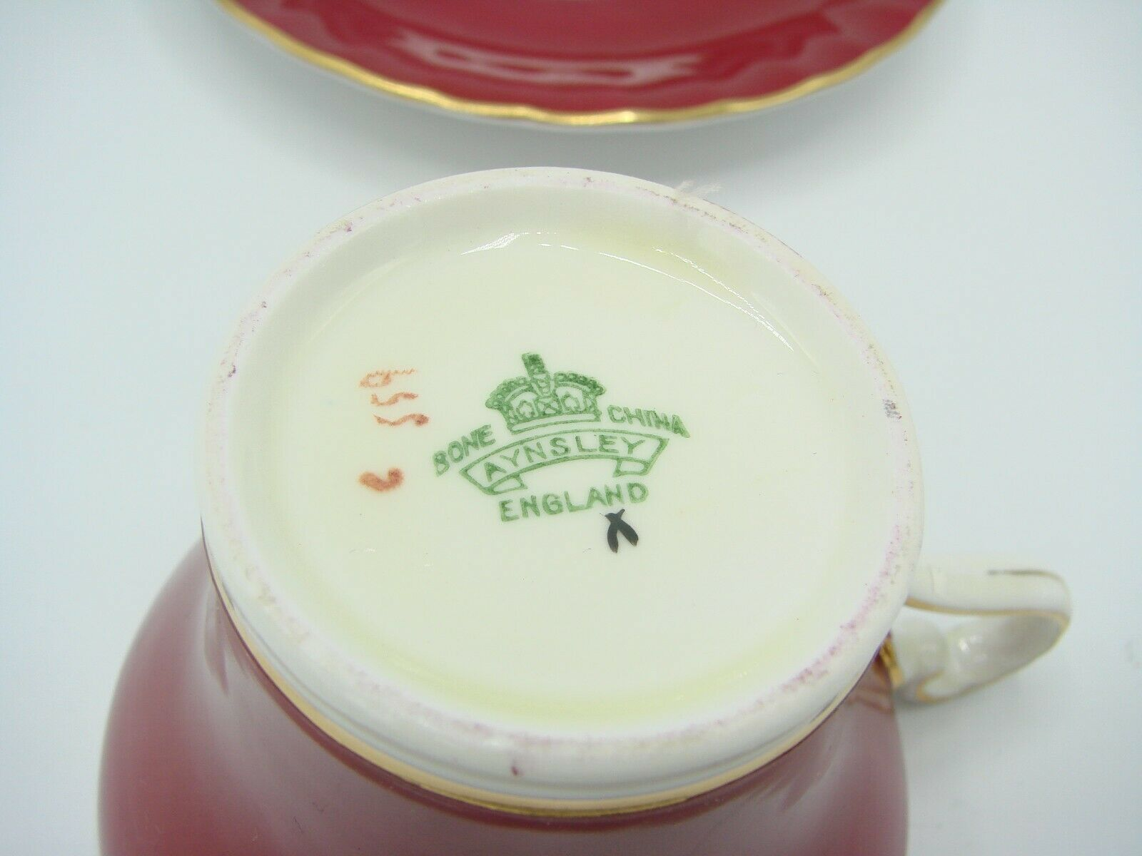 Aynsley Bone China Maroon Gold Floral Interior Corset Waist Tea Cup Saucer 1950