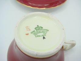 Aynsley Bone China Maroon Gold Floral Interior Corset Waist Tea Cup Saucer 1950 image 10