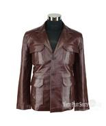 Mens Real leather jacket Bally Suit Blazer Gents 3 button Lapel Back sli... - $207.11+