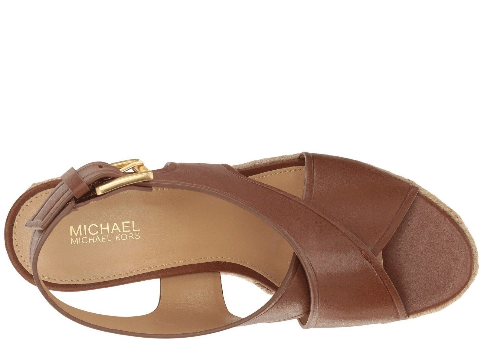 95a4099833c Michael Kors Angeline Wedge Sandal Leather Luggage(PW17C)Various Size