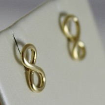 18K YELLOW GOLD EARRINGS WITH MINI INFINITY SYMBOL, INFINITE, MADE IN ITALY image 2