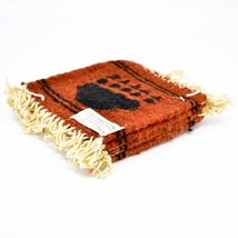 Handmade Zapotec Indian Weaving Hand-Woven Bear Paw Red Wool Coaster Set of 4 image 3