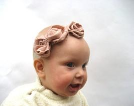 Unic  blush rose baby-infant-girl headband, Pink rose linen headband, big rose   - $15.00