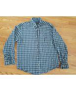 Mens Woolrich Size Large Blue Black Plaid Checkered Long Sleeve Shirt EUC - $10.89