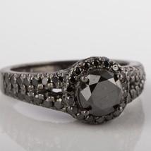 Round Black 2.30 Carat Diamond Engagement Halo Ring 14k White Gold Split Shank - $1,484.01