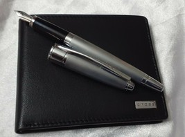 Cross Apogee Brushed Chrome 18k Nib Fountain Pen and Wallet and - $177.51