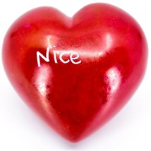 Vaneal Group Hand Carved Soapstone Naughty/Nice 2-Sided Red Heart Paperweight image 2