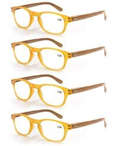4 Pack Reading Glasses 2.25 Fashion Wood-Look Spring Hinges Stylish Read... - $17.12