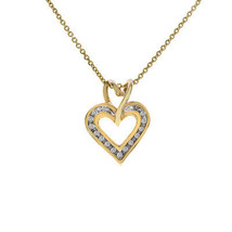 0.15 Carat Round Cut Diamond Heart Pendant 10K Yellow Gold On Cable Link Chain 1 - $246.51