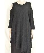 Design Today's dress tunic S black long sleeve cold shoulder crinkle mat... - $79.19