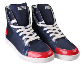 Heyday Shift Lite Core Blue Nylon Red Patent Leather Hi Top Shoes 10US 43 NIB image 1