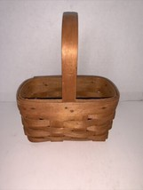 "Vintage Longaberger Small Rectangle Basket w/Handle Signed 5 1/2"" X 3 1/... - $10.00"