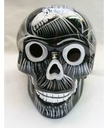 Talavera Clay Sugar Skull Mexico Day of the Dead Black with White Large S2 - $29.69