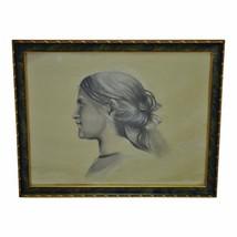 Vintage Framed Female Portrait Charcoal Drawing - Artist Signed - $295.00