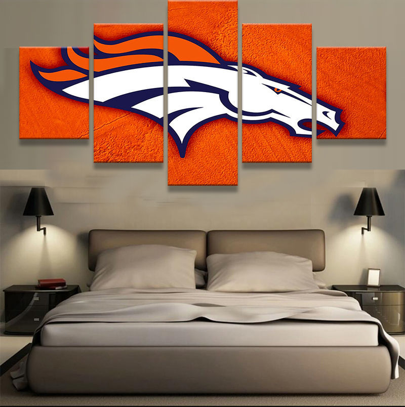 Denver Broncos Orange Prints 5 Piece Canvas Art Wall Art Picture Home Decor