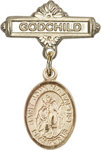 14K Gold Baby Badge with St. John the Baptist Charm Pin 1 X 5/8 inch - $425.00