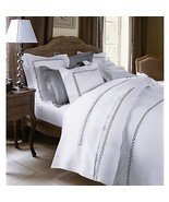 Yves Delorme White Queen Flat Sheet Laurel Grey Embroidery Cotton Laurie... - $213.00