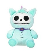 Furrybones Teal Unicorn Unie Wearing Purple Daisy Collar Small Plush Doll - $10.88
