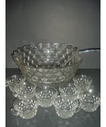 Fostoria American Punch Bowl Cups Glass Ladle - $179.99