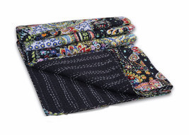 Paisley Print Kantha Quilt Twin Size Throw Bedspread Boho Hippie Gypsy B... - $41.65