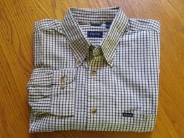Izod Mens Green Tan Plaid LS Button Down Casual Dress Shirt Medium - $9.99